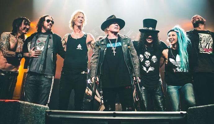 Guns N' Roses al finalizar su show el pasado 9 de abril en Las Vegas