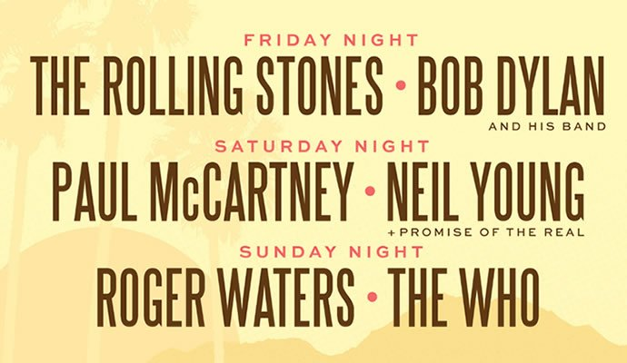 The Rolling Stones, Bob Dylan, Paul McCartney, Neil Young, Roger Waters y The Who en un mismo escenario del 7 al 9 de octubre de 2016