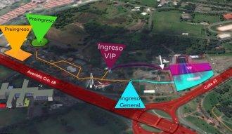 Mapa de ingresos Maroon 5 en Bogotá